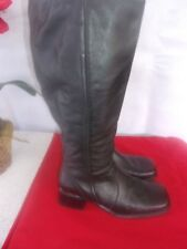 BLACK LEATHER TABITHA BOOTS TALL KNEE HIGH Earth  Size 8.5 VERY GOOD CONDITION