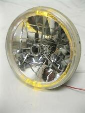 "Street Rod 7"" Tri Bar Black Dot Headlight w/ Amber LED Turn Signal 12v ONE LIGHT"