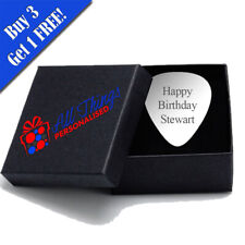 More details for personalised engraved metal guitar pick with gift box included, a perfect gift