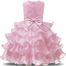 Kids Girls Princess Dress Wedding Bridesmaid Pageant Party Bow Tutu Dresses Hot*