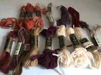 BUNDLE ANCHOR Tapestry Wools Skeins ALL BROWNS CREAMS Different Shades