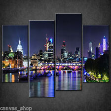 SKYLINE CITY LIGHTS LONDON BY NIGHT CASCADE CANVAS PRINT WALL ART READY TO HANG