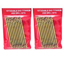 """( Lot 2 ) 10-PC 1/8"""" Double End Titanium HSS Drill Bits"""