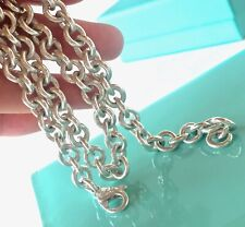 RP$416 Tiffany & Co. Silver Round Donut Link Chain Necklace 15.5in/ 52gr 190821A