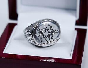 835 Silber - antiker Herren-Ring - Siegelring - Römischer Motiv - massiv