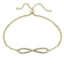 Gold Ton über Sterling Silber Zirkonia Infininty Verstellbares Armband
