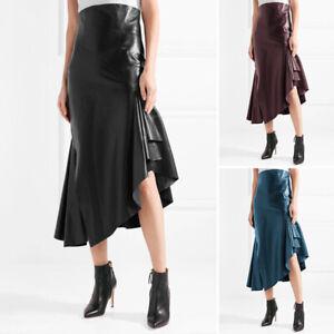 ZANZEA Women Autumn Winter A-Line Fishtail Midi Dress High Waist Leather Skirt