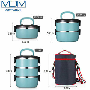 Lunch Box Stainless Steel Bento Thermal Insulated Food Storage Container 3 Layer