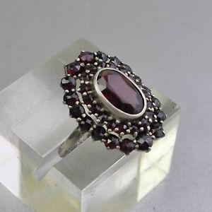 Antiker Ring, Silber 900, Granat, Größe 60, außergewöhnlich schönes Stück