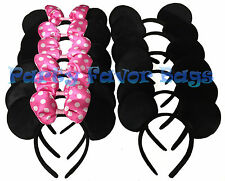 24 pcs Mickey Minnie Mouse Ears Headbands Black Pink Party Favors Birthday Gift