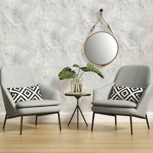 'Jungle Palm' Leaf Wallpaper in Beige, White & Grey