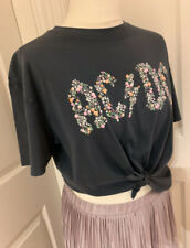 AC/DC T Shirt 8 Blue Grey Band Floral Knot Crop Top Festival TOPSHOP AND FINALLY