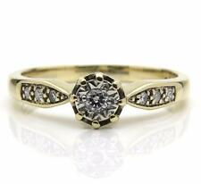 0.10ct Real Diamond Ring Size O 9ct Gold UK Hallmark Free P&P