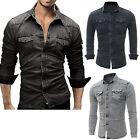 Men's Casual Shirt Slim Fit Long Sleeve Dress Shirt Jeans Denim T-shirt Tops