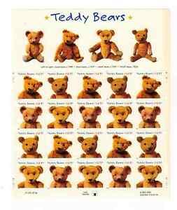 Scott #3653/6..  37  Cent...Teddy Bears...  Sheet  of 20