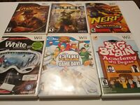 Lot Of 6 Wii Games- Indiana Jones,Hulk,Nerf,Snowboarding, Club Penguin,Big Brain