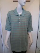 LACOSTE - PEPPERMINT/BROWN STRIPED, Logo, POLO shirt ,SIZE 6 LARGE, 100%Cotton