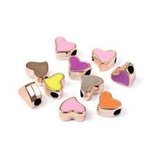 Enamel & Acrylic Flat Heart Beads 13 x 16mm Rose Gold/Mixed 10 Pcs DIY Jewellery