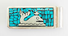 Vintage sterling silver inlaid turquoise Whale money clip Taxco Mexico