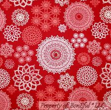 BonEful Fabric Cotton Quilt Red White Snow*flake Xmas Victorian Lace SALE SCRAP