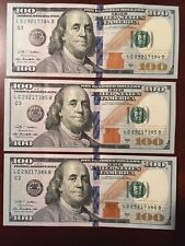3 Crisp $100 Dollar Bill from 2009 Series A Consecutive Serial Numbers.