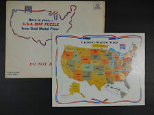 Rare General Mills Gold Medal Flour U.S.A. Map Puzzle Discover America Puzzle