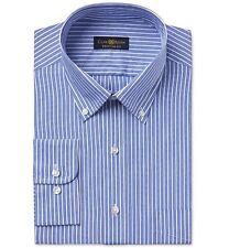 Club Room Men Regular-fit Blue White Stripe Cotton Dress Shirt 15.5 32/33 M
