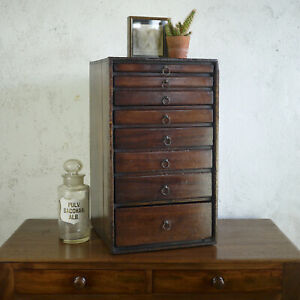 Antique Mahogany Specimen Cabinet Bank of Drawers Collectors Chest Jewellery Box