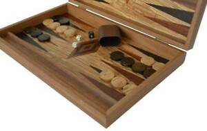 Manopoulos Olive wood Backgammon Set - Handmade in Greece - Olive wood checkers
