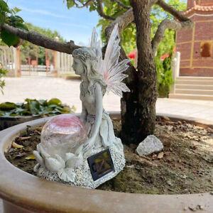 Solarbetriebene Fee Engel Engel Ornament Ball Statue Gartenfigur Skulpturen