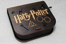Harry Potter Music Box - Glasses Deathly Hallows - Hand Crank Engraved Wooden