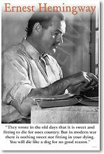 """Ernest Hemingway - """"Today is Only One Day..."""" - NEW Famous Person POSTER"""