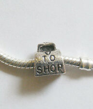 1 Metal Dark Antique Silver Love to Shop  Charm Bead - Fits Charm Bracelet