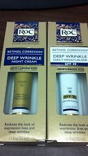 2 Roc Retinol Correxion Deep Wrinkle Day And Night Cream Larger Size 1.1 oz each