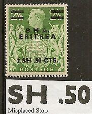 ERITREA 1948 MISPLACED STOP E10a MNH