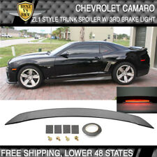 USA Stock Camaro ZL1 Style Trunk Spoiler Wing Unpainted Black W LED 3Rd Brake
