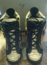 Guisseppe Zanotti Wedge Sneakers - Leather Black & Snake Skin Design -37/5 (7.5)