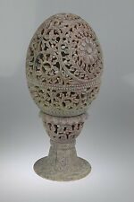 off White 23cm (2217-a) Natural Soap Stone Carved Handicraft Egg Shaped Candle