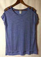 Active Life S Blue Slub Knit Criss Cross Open Sleeve T-shirt/Top Cold Shoulder