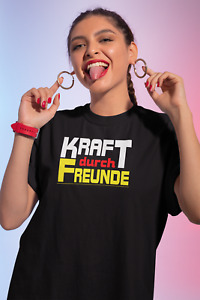 Kraft durch Freunde. Brillanter Transferdruck vorn, Damen Power T-Shirt