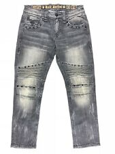 Rock Revival Jerry Biker Slim Straight Leg Stretch Jean Men Size 33 33x31