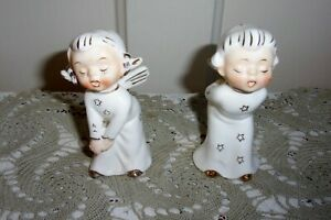 TWO 1950's Howard Holt Made in Japan Gilded Christmas Angel Figurines