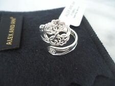 Alex and Ani Sterling Silver PATH OF LIFE  SPOON RING New  W/ Tag Card & Box