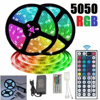 10M RGB 5050 SMD LED Strip Lights Full Kit 44 Key IR Remote controller 12V Power