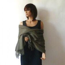 Étole laine cachemire 40% vert kaki - châle plaid foulardbelle qualité