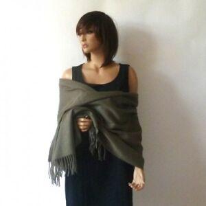 Étole laine cachemire 40% vert kaki - châle plaid foulardbelle qualité écharpe