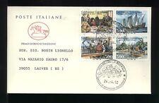 1992 ITALIA FDC CAVALLINO 24.4.1992 COLOMBO BLOCCO DA 4  VIAGGIATA
