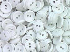 25 x 15mm Small White 2 Hole Buttons Sewing Knitting Craft Medium AA11