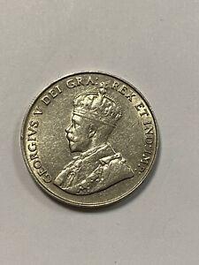 Canada 1922 5 Cents, Far Rim Variety, Nice Grade