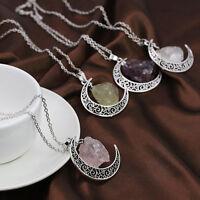 Natural Quartz Moon Crystal Point Chakra Healing Gemstone Pendant Necklace